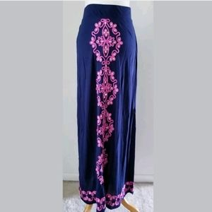 INC EMBROIDERED JEWEL MAXI SKIRT SZ L